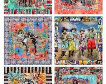 "Lipstick Cowgirl Retro Western fabric , Collage Ephemera M31720- Panel 24"" x 44"""