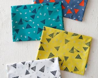 Bird triangle Cotton Satin Fabric- Huedrawer Fragments EF960300-302 by Etsuko Furuya