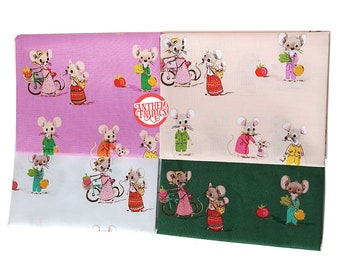 TRIXIE by Heather Ross - Country Mouse cotton fabric bundle - 4 fat quarters