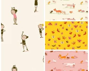 COTTON LAWN - Tiger Lily by Heather Ross - fat quarters 4 piece fabric bundle set