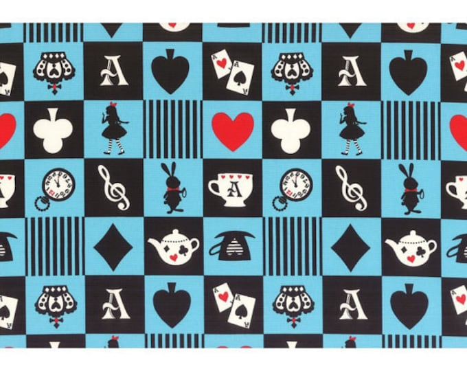 Girls Story Alice in Wonderland - Alice Squares Checkers Patch L52-70 Blue, Lecien of Japan, select a length