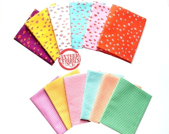 TRIXIE by Heather Ross - Strawberries 0r Gingham Plaid cotton fabric fat quarters  - select a bundle