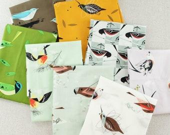 Charley Harper Western Birds / Birch Fabrics Organic cotton Bundle - half yard cuts, 8 pieces