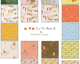 Heather Ross Far Far Away III cotton LINEN for Kokka Japan, 17-pc FQ set - FFA3 Fat Quarter fabric bundle