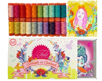 SALE Tula Pink  Curiouser and Curiouser Aurifil boxed cotton thread Mako 50wt - 20 Small Spools