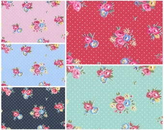 Oxford cotton canvas  - Maison Flower Sugar Fabric by Lecien - LEC40564 Dotty Floral, 1/2 yard of your choice