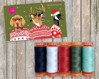 Holiday Homies Tula Pink Designer Aurifil Thread Assortment - Mini boxed Mako 50wt, 5 small spools