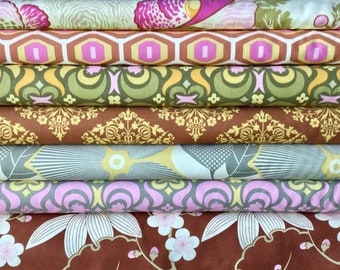 Amy Butler, Midwest Modern and Midwest Modern2 cotton fabric bundle, 7 fat quarters