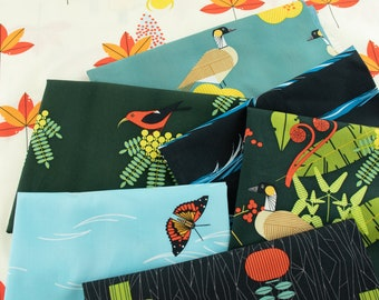 Charley Harper Hawaiian Volcanoes, organic cotton fabric bundle - GOTS certified, 7 fat quarter cuts OR with panel option