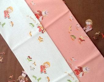 Heather Ross Far Far Away III cotton LINEN for Kokka Japan, HR210-10 Play Horse Fat Quarter fabric bundle, 3-pc FQ set