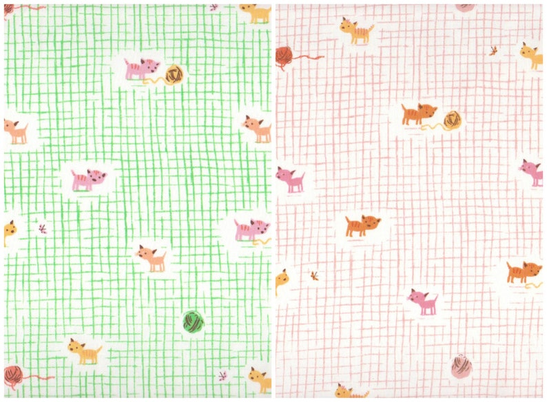 5 pieces Cat Family /& Kittens and Yarn mini bundles Tiger Lily by Heather Ross fat quarter cuts