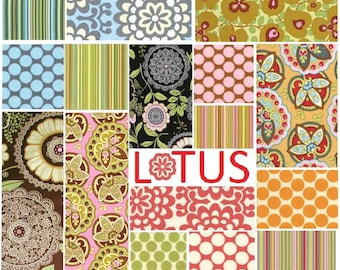 Amy Butler Lotus - 16 fat quarters - quilting cotton - stripes, full moon dots, wallflower, morning glory, star paisley, lacework fabrics