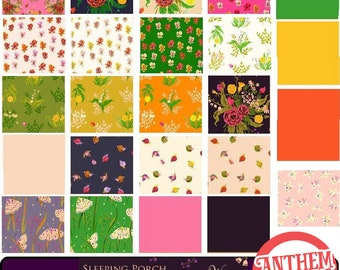Sleeping Porch Heather Ross fabric COTTON LAWN - wildflowers, pansies, moths, fortune teller, snails, bouquet, solids - 24 fat quarters