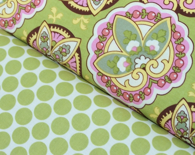 Amy Butler - Full Moon Polka Dot and Star Paisley in lime - half yard set of 2