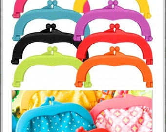 """Lecien Jelly clip MEDIUM 5.5"""" - 8 colors, resin acrylic kiss lock for purse, 1 clip per package - choose a color"""