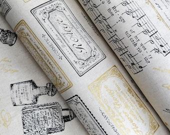Cotton Linen Canvas RU2280 Natural Tone Metallic Gold - Quilt Gate Japan Textile - Fat quarter bundle or select a length.