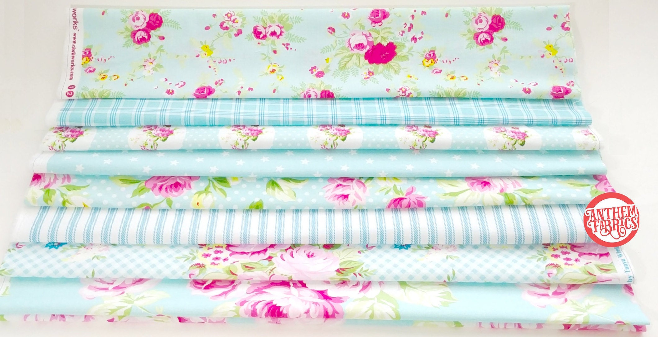 Shabby Chic Green florals /& checks 4 piece fat quarter bundle 100/% cotton fabric