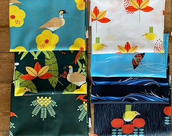 Charley Harper organic cotton fabric Hawaiian Volcanoes GOTS certified, choose design and length