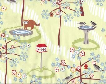 Cotton Fabric Frolic by Wendy Slotboom - Raccoon Bird Yard Scene IB3WSA1 Blue Flowers