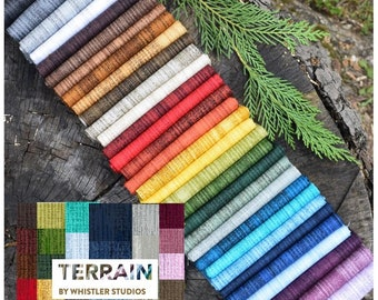 Terrain Basic Blenders - 32 Fat quarters, Cotton fabric Bundle, by Whistler Studios for Windham Fabric