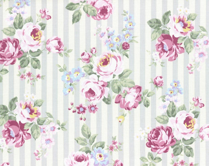 Princess Rose Fabric by Lecien - Stripes and Roses L31264-90 Gray
