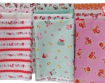 Cotton Fabric bundle, 12 Fat quarters, Vintage retro - Milk Sugar Flower by Elea Lutz for Penny Rose Riley Blake