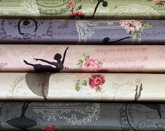 Quilt Gate Rose Prima ballet cotton fabric - Ballerina R2260-13, 1 Yard, choose color.