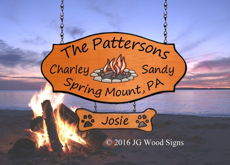 Custom Etsy Family Name RV Camping Sign Colored Campfire w/ one add on sign  Family Name Sign - Wood Camping Sign - JGWoodSigns - Patterson