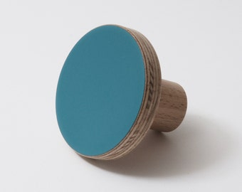 Wooden colourful knob, for cabinets, kitchen cupboard doors, turquoise