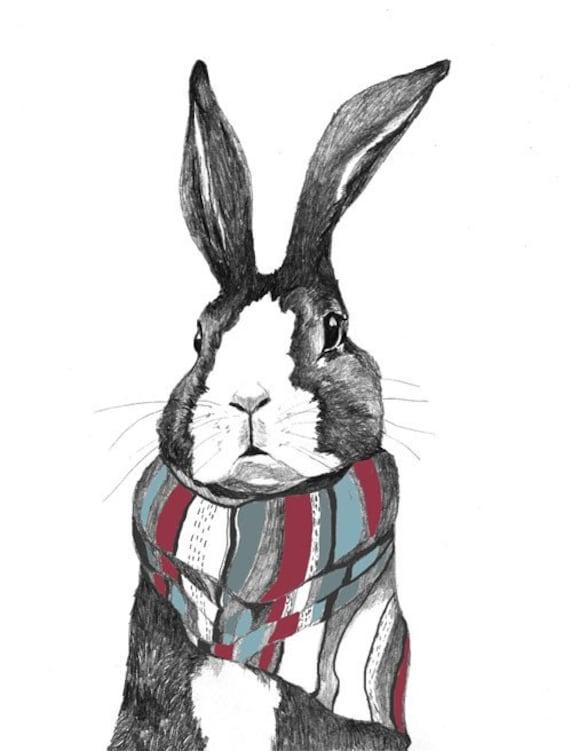 Bunny Rabbits kiss drawing Art Print ACEO Collectible Gift Card Draw NY Artist