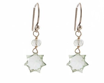 Green Amethyst Star earrings with Sterling Silver