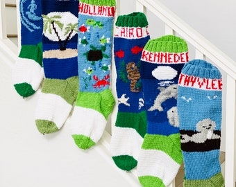 Ocean and Forest Animals PATTERN, Christmas Stocking Patterns, Christmas Stocking Design, Christmas Knitting, Christmas Sock, Christmas