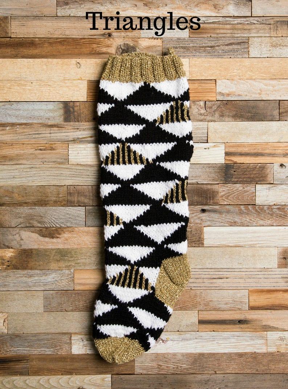 Christmas Stocking Black white and gold stockings Christmas Knitting Christmas Stocking Patterns Christmas Stocking Design