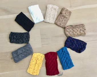 Winter Warm Solid Knitting Headbands for Women Lady Wool Crochet Hairband Headwear Wide Bandana Turban Accessories