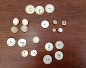 VTG mixed lot of 21 MOP Mother of Pearl shell buttons shank 2 hole E