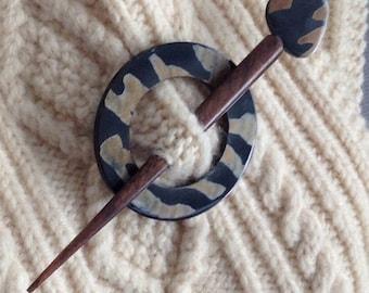 Shawl Pin 2pc black brown tiger stripe bone with decorative matching/ wooden stick