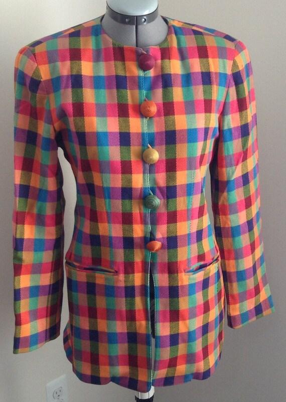 VTG Emanuel Ungaro bright plaid rayon blend tunic