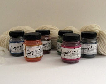 Acid Dyes, Jacquard (Kit of Six .5oz jars for protein fibers and most nylons - just use vinegar and heat)