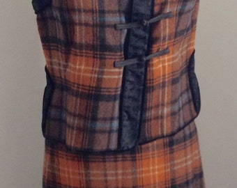 Philosophy Alberta Ferretti wool rust plaid oriental vest matching skirt 4 6
