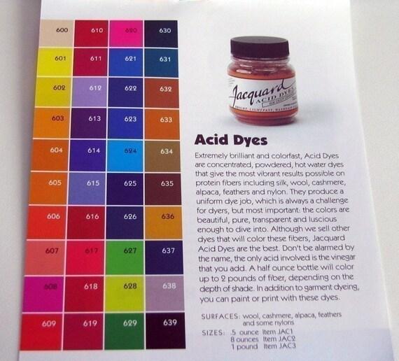 Colorantes ácidos Jacquard Kit de seis frascos de .5oz para | Etsy