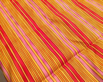 Orange red pink golden stripe K.P Kids kari Pearson fabric