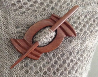 Wooden carved Shawl Pin  2pc wood  with wooden stick