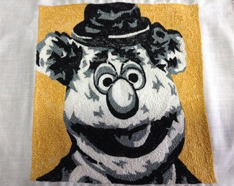 Fozzie Bear Sesame Street Muppets punch needle detail picture to frame