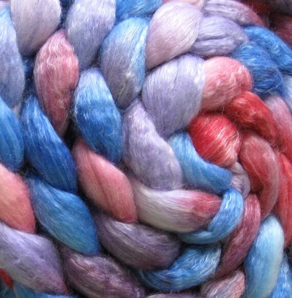 Beach Sunshine merino Tencel Blend Wool Roving - Handpainted Spinning or Felting Fiber 4 ounces Top