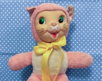 d5ec1cb03a9c VTG Stuffed Animal Plush Rubber Face Pink Cat Woolikin