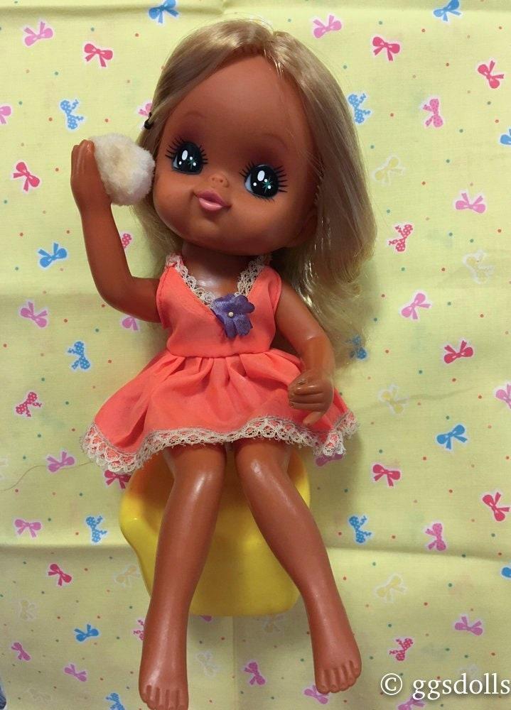 Vtg Japan Rare Tan Big Eyes Blonde Powder Doll Orange Dress Etsy