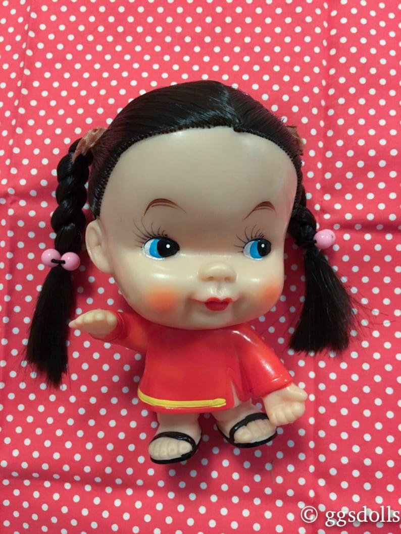 VTG Japan Kewpie Type Baby Rubber Doll Big Head w Extra Doll