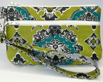 Green and Teal Damask Small Wallet with Detachable Strap