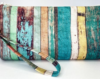 Blue and green weathered wood print zippered clutch pouch