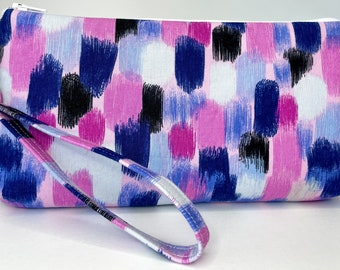 Blue and pink brush strokes print zippered clutch pouch